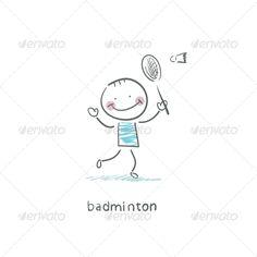 Man Playing Badminton. Illustration.