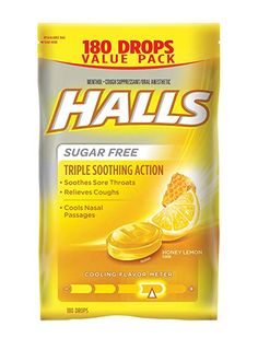 HALLS Honey-Lemon Sugar Free Cough Suppressant - 180 Count for sale online Sugar Free Honey, Lemon Sugar, Honey Lemon, Sore Throat Relief, Sooth Sore Throat, Scratchy Throat, Cold Or Allergies, Nasal Passages, Gourmet Recipes