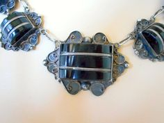 Mexican Sterling Necklace Art Deco Sterling by nanascottagehouse, $195.00