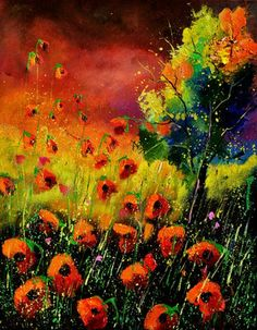 "Saatchi Art Artist Pol Ledent; Painting, ""red poppies 451130"" #art"