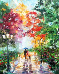 Original oil painting Autumn Stroll with the Dog on canvas Landscape palette knife modern texture fine art impressionism by Karen Tarlton