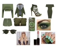 """""""Day and Night 7-Dark Green"""" by marianaraposo on Polyvore featuring WearAll, Elizabeth and James, Ray-Ban, Casetify and Laura Mercier"""