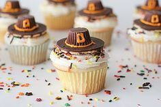 Pilgrim Hat Cupcakes, Thanksgiving/Fall sprinkles Fudge Stripe Cookies, Mini Reeses Peanut Butter Cups