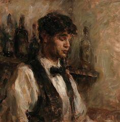 """Portrait of Young Bartender"" - Originals - All Artwork - Ron Hicks Portrait Art, Portraits, Art Hoe, Classical Art, Renaissance Art, Old Art, Pretty Art, Beautiful Paintings, Aesthetic Art"