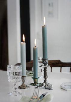 Stearinljus i 100% stearin, från Liljeholmens. dukning,ljus,matbord,kök