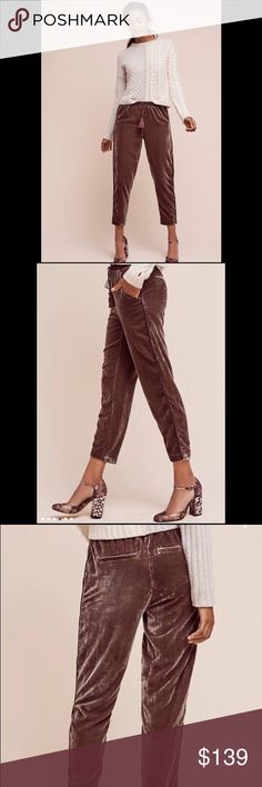 ❌EXTRA 50% OFF❌Anthropologie velvet crop pants Viscose, nylon  Cropped, tapered leg  Side slant, back welt pockets  Drawstring waist 333136 Retail: $118 Size: m  ❤I have over 300 new with tag Free People & More items for sale! I love to offer bundle discounts!  ❤No trades. I no longer discuss pricing in comments. Please use offer button to submit offer! 😊 Free People Pants Ankle & Cropped