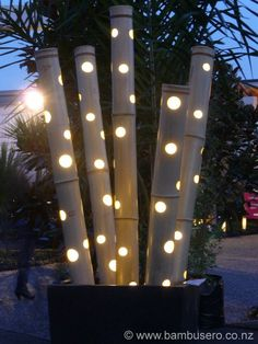 Here are outdoor lighting ideas for your yard to help you create the perfect nighttime entertaining space. outdoor lighting ideas, backyard lighting ideas, frontyard lighting ideas, diy lighting ideas, best for your garden and home Landscape lighting or g Outdoor Garden Decor, Outdoor Gardens, Indoor Outdoor, Bamboo Garden Ideas, Garden Decorations, Bamboo Ideas, Outdoor Decorations, Garden Seating, Rustic Outdoor