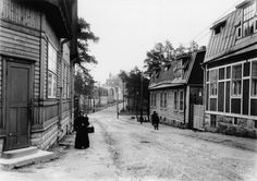 Vallilantie in the early Helsinki, Finland (*This could have been my grandmother. Map Pictures, Wooden House, Marimekko, Helsinki, Historian, Historical Photos, Time Travel, Finland, The Past