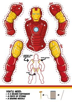 Man Paper Puppet - Free Printable Iron Man as a Jumping Jack. Another cool superhero puppet.Iron Man as a Jumping Jack. Another cool superhero puppet. Iron Men, Superhero Classroom, Superhero Party, Paper Puppets, Paper Toys, Iron Man Party, Avengers Birthday, Jumping Jacks, Activities For Kids