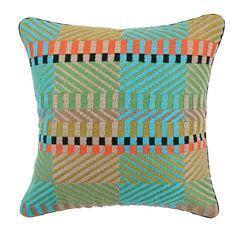 Trina Turk Residential Vintage Weave Needlepoint Linen Throw Pillow