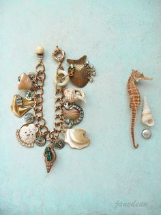 Chunky Seashell Bracelet  big handmade charms by janedean on Etsy, $68.00