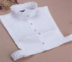 White Cotton Upright Fake Collar