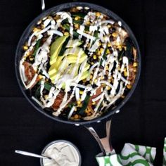 Fire Roasted Poblano Chilaquiles with Spicy Cumin Cream