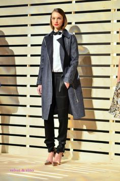 Borrowed from the boys with a feminine touch by @J.Crew at @Mercedes-Benz Fashion Week velvetandvino.com #borrowedfromtheboys #bowtie #oversizecoat