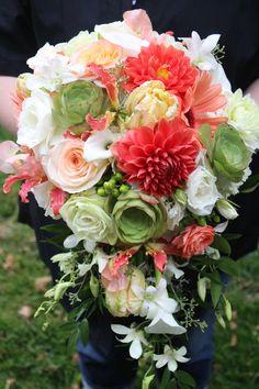 coral, green, white, champagne - cascading bouquet of dahlias, succulents, calla lilies, gloriosa lilies, dendrobium orchids, etc.