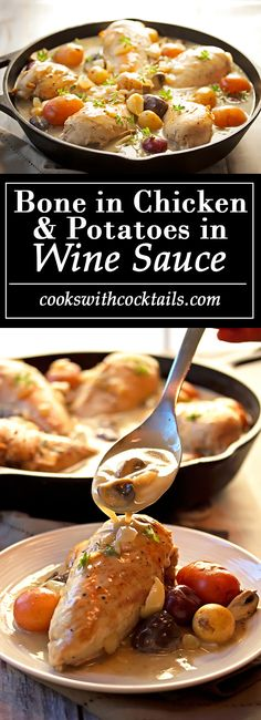 Bone-In chicken & potatoes in wine sauce cookswithcocktails. Easy Healthy Recipes, Vegetarian Recipes, Cooking Recipes, Skillet Recipes, Entree Recipes, Healthy Meals, Easy Meals, Dinner Recipes, Bone In Chicken Recipes
