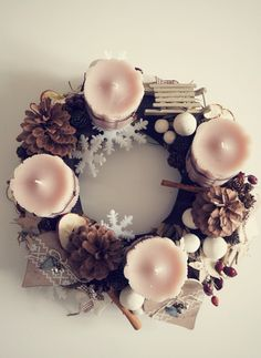 Beautiful Advent Wreath - by Réka Szoták Christmas Advent Wreath, Christmas Door, Winter Christmas, Merry Christmas, Christmas Decorations, Xmas, Christmas Inspiration, Holidays And Events, Floral Wreath
