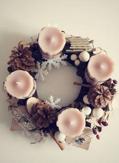 Beautiful Advent Wreath - by Réka Szoták Christmas Advent Wreath, Winter Christmas, Merry Christmas, Christmas Decorations, Xmas, Christmas Inspiration, Holidays And Events, Floral Wreath, Candles