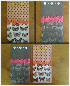 Butterfly cards (orange or pink themed)