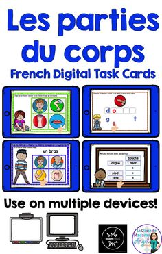 Les parties du corps. Your early French learners will have fun practicing the parts of the body with this set of 4 digital task cards! Playable on any device, students will be engaged as the listen to, read, spell and alphabetise a variety of parts of the body. Core French, French Class, French Teaching Resources, Teaching French, Learning Centers, Literacy Centers, Early French, French Teacher, French Immersion