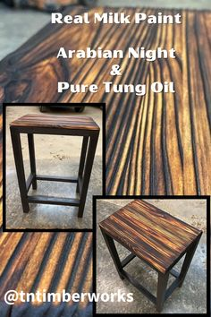 The top of this stool is absolutely stunning! What is so beautiful about this piece is the Shou Sugi Ban. That wood burning is sheer perfection! This was created by @tntimberworks using Arabian Night Real Milk Paint on the base and finished with Pure Tung Oil. Real Milk Paint and Pure Tung Oil are a great combination because Milk Paint has a naturally matte finish and allows the Pure Tung Oil to seal it without taking away the integrity of the wood-burning. Pure Tung Oil, Real Milk Paint, Wood Finishing, Absolutely Stunning, Beautiful, Wood Burning, Integrity, Natural Wood, Bar Stools