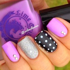 Lavender, Silver Glitter and Black and White Dots accent nail with Crystal accents #nails #nailart