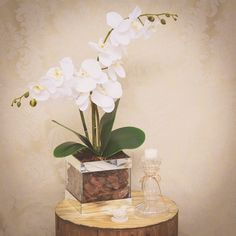 Arranjo Orquídea Branca no Vaso de Vidro | Formosinha Decorações