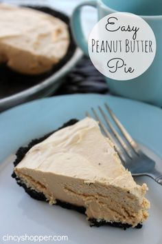 Easy Peanut Butter Pie Recipe - perfect Easter Pie that only requires a few ingredients. Easy Peanut Butter Pie Recipe - perfect Easter Pie that only requires a few ingredients. Easy Peanut Butter Pie, Peanut Butter Sandwich, Peanut Butter Recipes, Peanut Butter Mousse, Cookie Butter, Cashew Butter, Doce Light, Dessert For Dinner, Easter Dinner