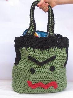 Children's Halloween Bag Green Monster Bag by LookingGlassDesigns1, £15.00