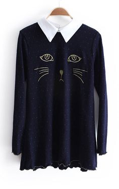 Navy Contrast Lapel Long Sleeve Cat Embroidery Sweater