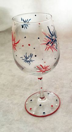 Hand Painted July 4th Patriotic Wine Glasses