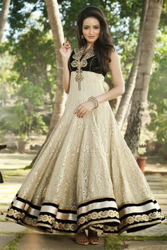 Long Anarkali Frocks by Ridhi Mehra - <3 black, gold and cream