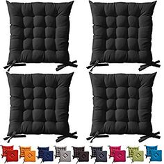 chair cushions with ties. 4 X Black Padded Seat Cushions With Ties 40x40x5cm \ Chair F