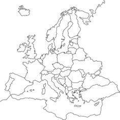 Euroopan valtiokartta. Tätä voit käyttää pohjana erilaisissa karttatöissä.