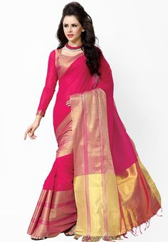 ISHIN Red Printed Sarees