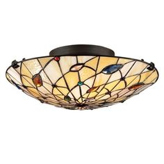 Shop for Quoizel Tiffany-style 2-light Vintage-bronze Art-glass Flush Mount. Get free shipping at Overstock.com - Your Online Home Decor Outlet Store! Get 5% in rewards with Club O! - 15882870