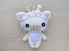 Party Pig Initial Mint charm Felt Keychain by WeLoveStitches