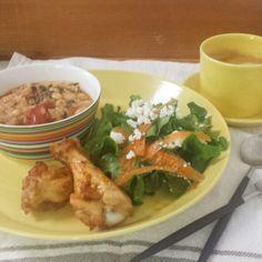 タンドリーチキンとトマトリゾットの朝食