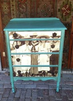 Cowgirl Chest of Drawers - This would be neat to do in a playroom for toys, with kids school picture or other picture in black and white.
