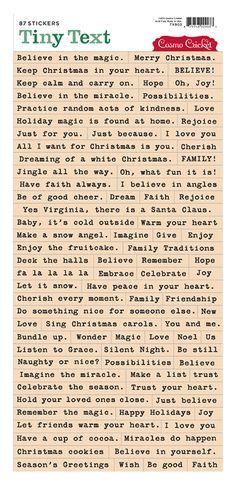 Cosmo Cricket Tiny Text, how great would these be for Xmas cards?