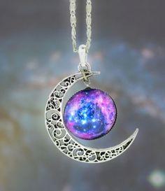 Pendentif en Argent Demi croissant de lune avec la Galaxy