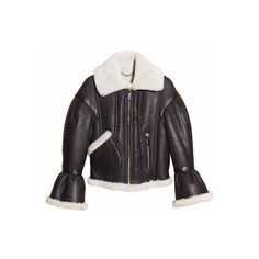 Burberry Sculptural Shearling Flight Jacket ($5,750) ❤ liked on Polyvore featuring outerwear, jackets, coats & jackets, coats, oversized bomber jacket, bomber jacket, blouson jacket, puff sleeve jacket and burberry jacket