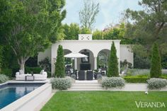 The pool house at this Southern California home allows for year-round outdoor entertaining.