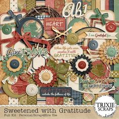 """Sweetened with Gratitude Digital Scrapbooking Full Kit - When life gets sour, sweeten it with gratitude… and then make a page about it with this new digital scrapbooking kit from Trixie Scraps. """"Sweetened with Gratitude"""" is perfect for scrapping about all the things you are grateful for and the beautiful, muted fall palette will work well for your Thanksgiving photos, outdoor autumn photos and so much more!"""