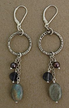 Etched oxidized sterling circle with labradorite, purple pearl and iolite drop earring