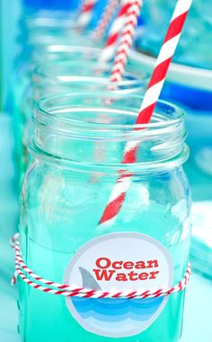 Throwing a fun summer event or maybe even a Shark Party? Quickly make this easy Blue Punch recipe and print the cute free label to name it Ocean Water!   The Love Nerds