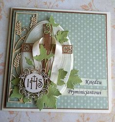 papierowa odskocznia: dla księdza First Communion Cards, First Holy Communion, Diy Birthday, Birthday Cards, Diy Cards, Quilling, Box, Spiritual, Card Making
