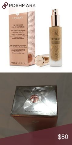 SPECIAL!By Terry Or de Rose - #4 Magic Amber Or de Rose Teint Suprême  Age-Defense Lift-Foundation Extra-Fine Matte Flawless Finish. 1.01 fl oz. Shade #4 Magic Amber.  Contains Anti-wrinkle 24-Carat Pink Gold, Collagen-Boosting Rose Cells, Natural Pigments, Extracted from Rose Petals Brand new item, still cello wrapped! By Terry Makeup Foundation