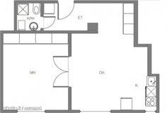 2 rooms + open kitchen (52 m2) / Kaksio avokeittiöllä, ikkunat yhdellä seinällä (52m2) #kaksio #pohjapiirros #floorplan Floor Plans, Diagram, Floor Plan Drawing, House Floor Plans