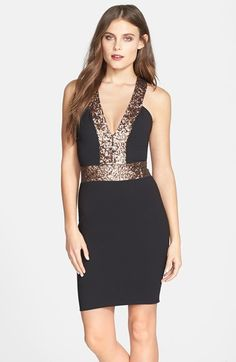 85b3542df6 Free shipping and returns on Dress the Population  Rylee  Sequin Strap  Crepe Body-. V Neck ...